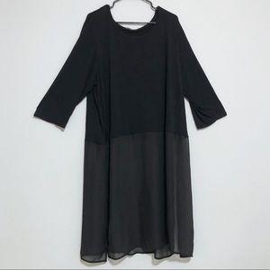 3/$20 Cha Cha Vente Black Semi Sheer Tunic Top